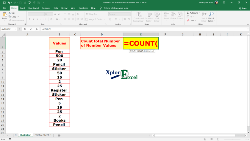 COUNT Function in Excel - 2