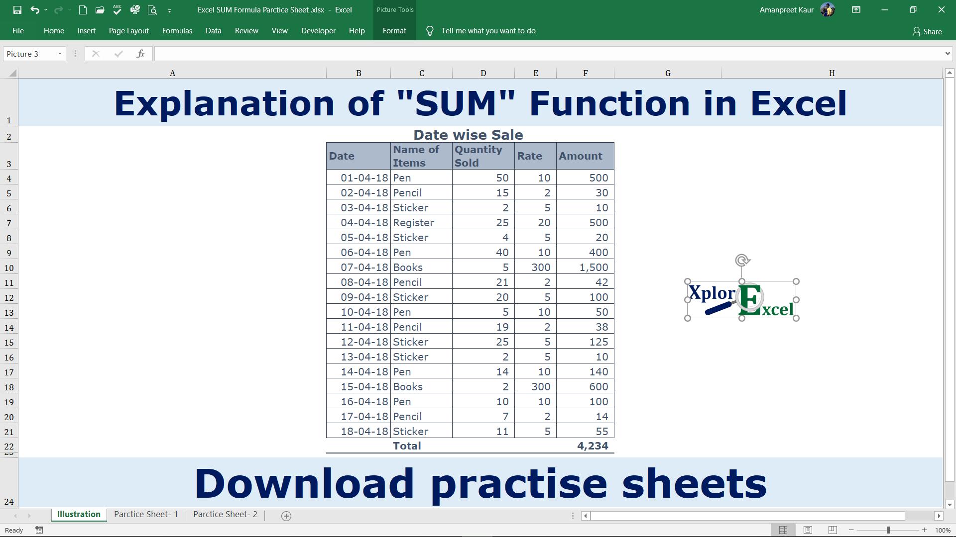 Sum Function in Excel   Download 20 Practice Sheets   Xplore Excel