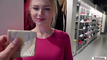 Russian sales attendant sucks dick in the fitting