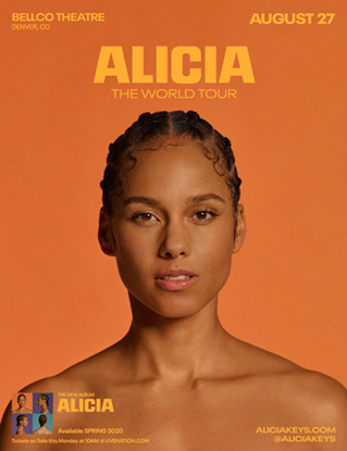 Alicia Keys at the Bellco Theatre August 27th