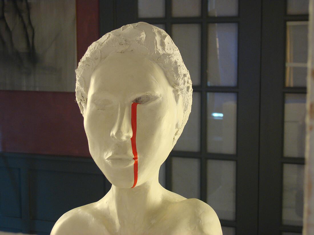 """Please Help!"", female headshot detail, 2018"