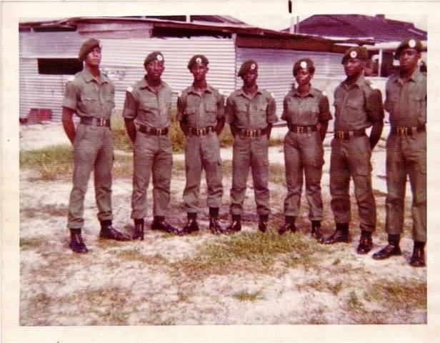 Officer Cadet Bridget,Cadet Bridget Smith 3rd from right, guyana women's army corps, Guyana, Guyanese GDF, Female Officers, Course 6 1976