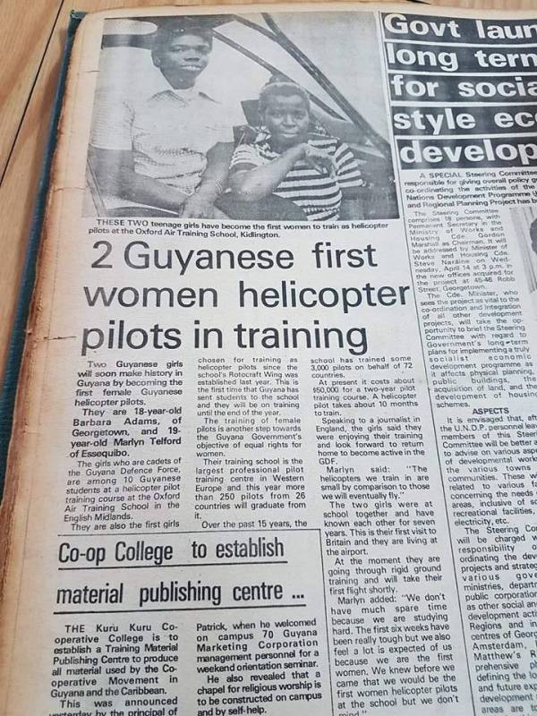 Lt. Marilyn Telford, helicopter pilot training 1975 GDF, Guyana WAC, women's army corps, Guyana, GDF, Female Officers, Course 6 1976