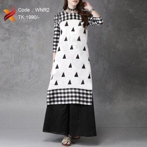 Black&white Linen Kurti