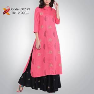 Pink Linen Embroidered Kurti