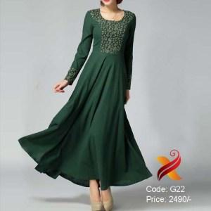 Bottle Green Georgette Gown