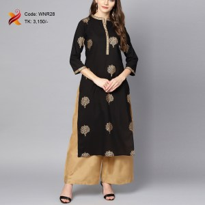 Blck Embroidered Kurti