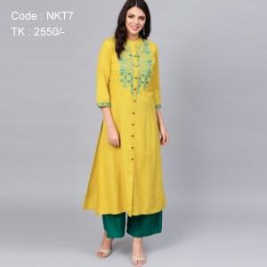 Yellow Embroidered Kurti