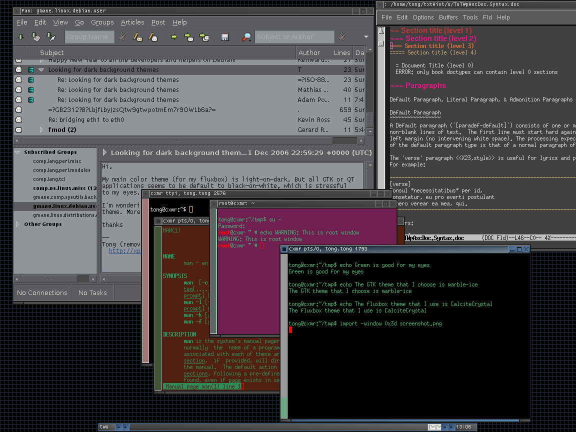 Old dark background GTK theme
