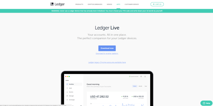 Store XRP on a ledger Nano S by downloading the Ledger Live software.