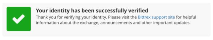 Bittrex identity verification success message complete.