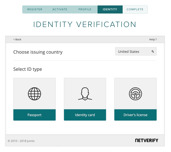 Poloniex account sign up Identity Verification choose your identity issuing country and verification method page.