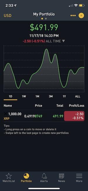 Crypto Tracker IOS crypto portfolio tracker app tab.