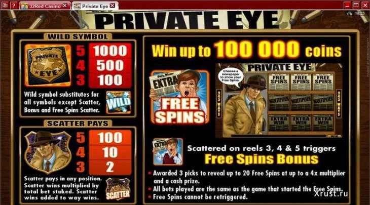 Манящий игровой автомат Private Eye от Microgaming в казино Вулкан