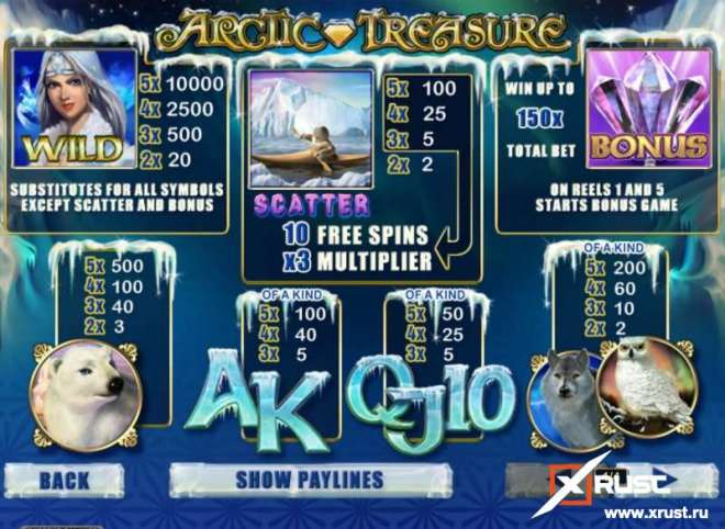 Игровой автомат Арктик Трежер на реальные деньги в казино Вулкан