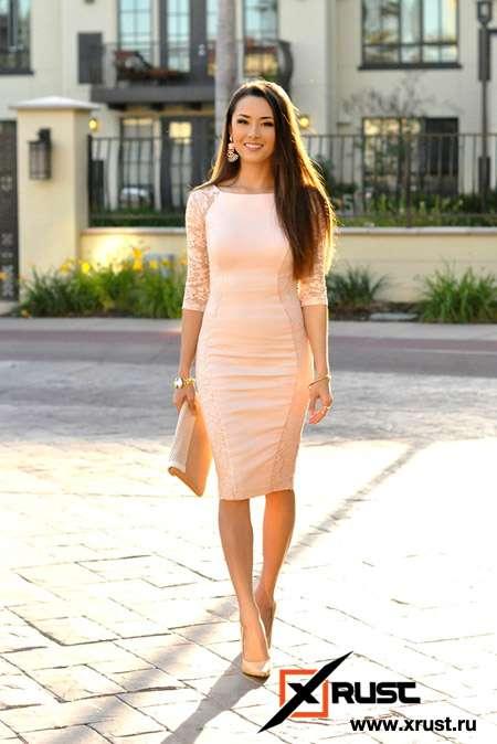 Утонченный стиль бежевого платья