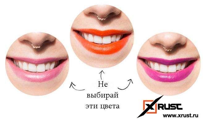 Желтоватые зубы: выбираем помаду