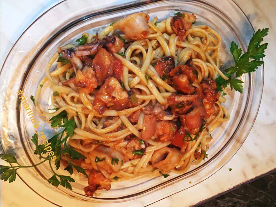 Λινγκουίνι με χταπόδι, καλαμάρια και γαρίδες