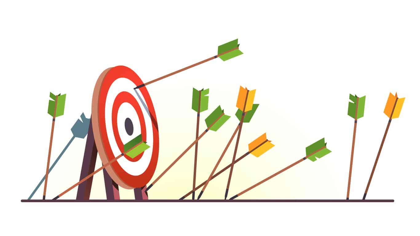 Many Arrows Missed Hitting Target Mark Shot Miss
