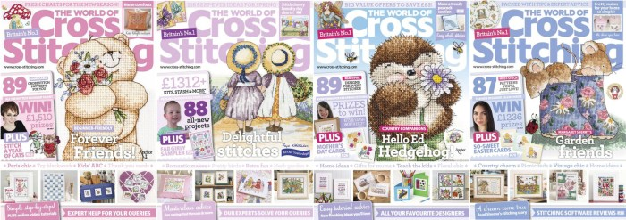 The World of Cross Stitching covers for January to April 2014