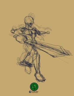 """Action Study Sketch 2 2016 8.5""""x11"""" #Sword #Action #Fighting #FantasyArt #Illistration #Warrior #Digital #DigitalArt."""