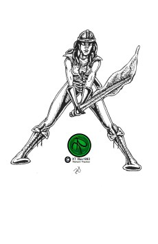 """""""Who Said I Couldn't"""" Pen and Ink on Paper 4""""x5.5"""", published in Star Triad Zine 1993. #FantasyArt #Illustration #Heroine #Sword #Pen&Ink. Prints available."""