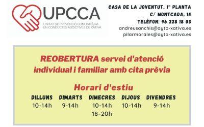 La UPCCA de Xàtiva reobri el servei d'atenció individual i familiar amb cita prèvia