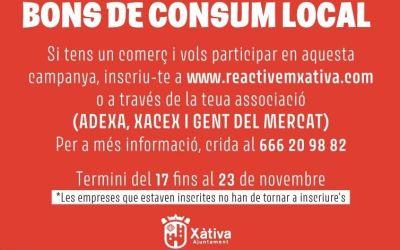 Ampliat fins el 23 de novembre el termini per a inscriure els comerços en la segona fase dels bons locals al consum de Xàtiva