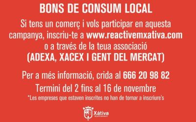 Els comerciants de Xàtiva poden inscriure's en la 2a fase dels bons locals al consum fins al 16 de novembre