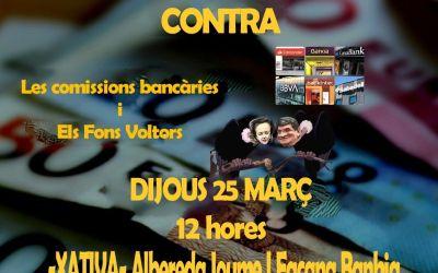 La Plataforma en Defensa de les Pensions Públiques de Xàtiva i la Costera convoca una acte reivindicatiu en contra dels abussos bancaris