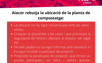 Aiacor rebutja la ubicació de la planta de compostatge