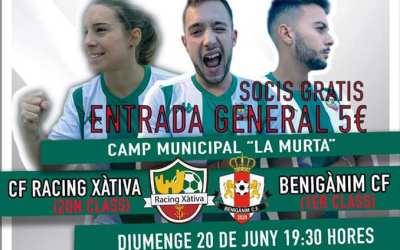 El CF Racing Xàtiva es juga l'ascens a Primera Regional contra el Benigànim CF