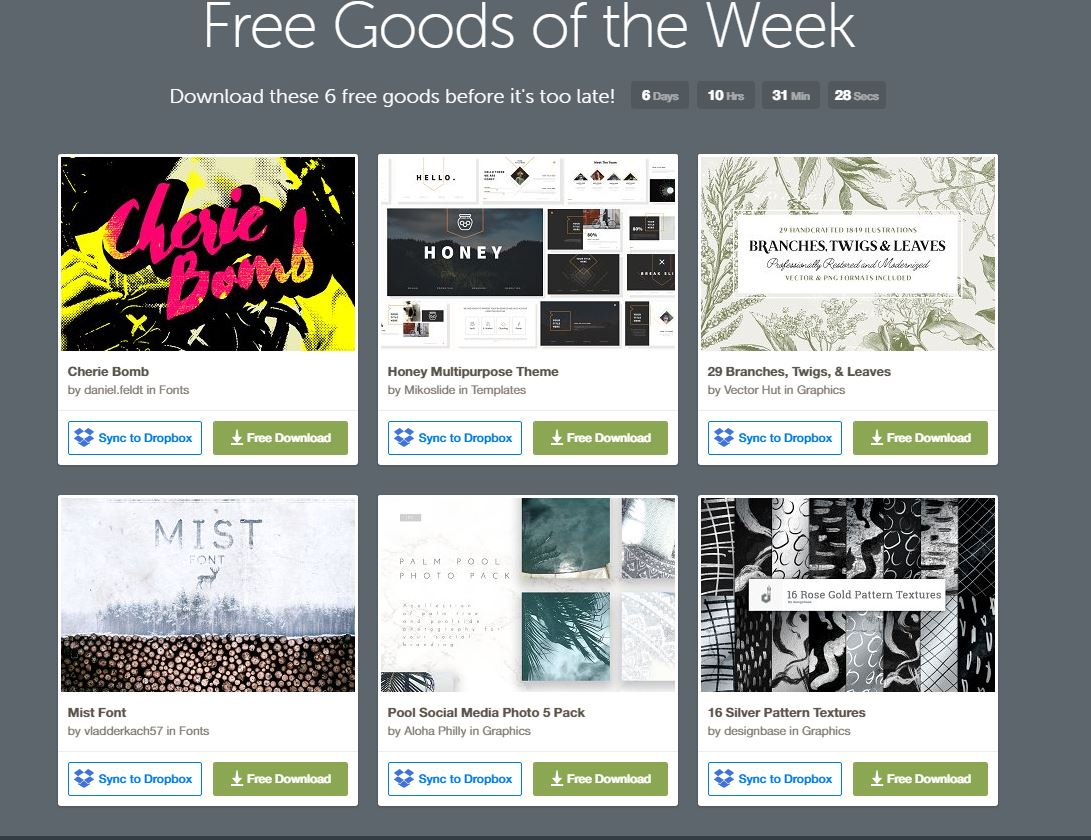 Free Good Of The Week – Creative Market – Oct. 10