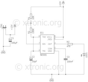 Fake Car Alarm Circuit – 555 led Flash  Xtronic