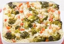 Arroz de Forno com Bacalhau Brócolis pimentão