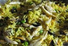 Arroz de caril com frango e legumes