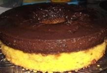 Receita de Bolo de Cenoura com Cobertura de Pudim de Chocolate