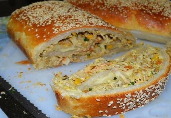 Receita de Pão Recheado de Frango e Queijo