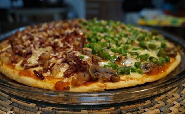 Receita de Pizza de carne de sol com pinhão
