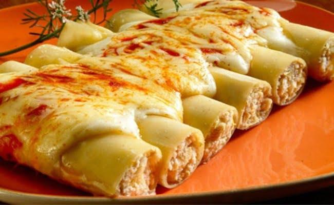 Receita de Canelone de queijo Fácil
