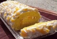 Receita de Rocambole de pêssego e laranja
