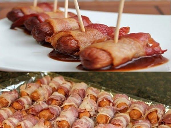 Receita de Salsicha no Bacon