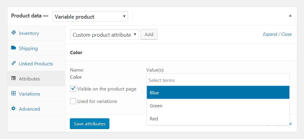 配置WooCommerce属性。