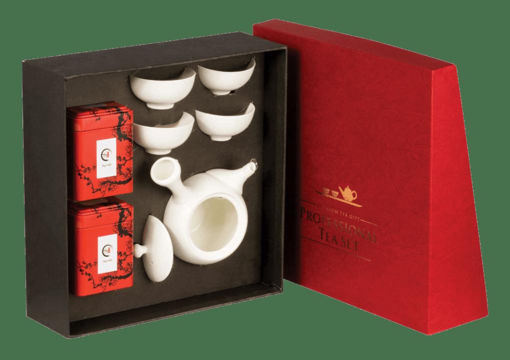 Combo quà tặng gồm bộ ấm chén và hộp trà