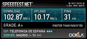 Speedtest 100Mbs
