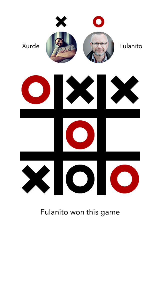 Tic-Tac-Toe App - Gameboard - Game over