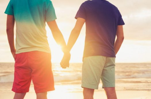 Gay Couple Holding Hans Photo