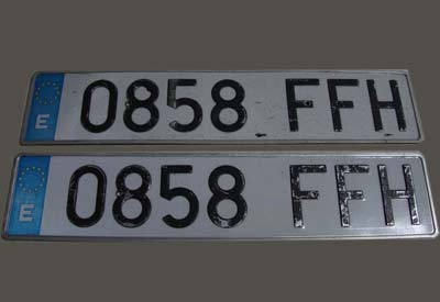 Reflective license plate nums film for Spain