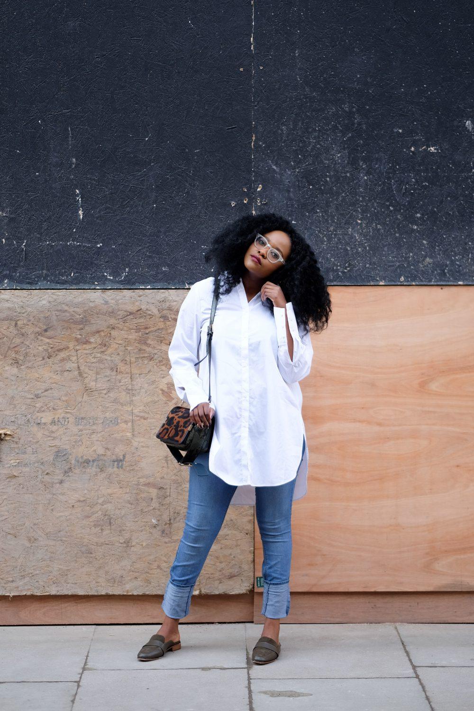 white shirt, black fashion blogger, ngoni, iamnrc