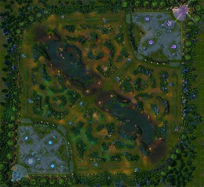 Voici la carte de League of Legend où s'affrontent les deux équipes.